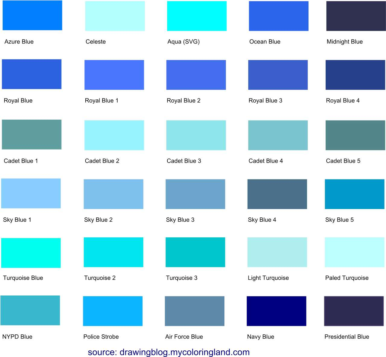 Different shades of blue a list with color names and for Show me the color green
