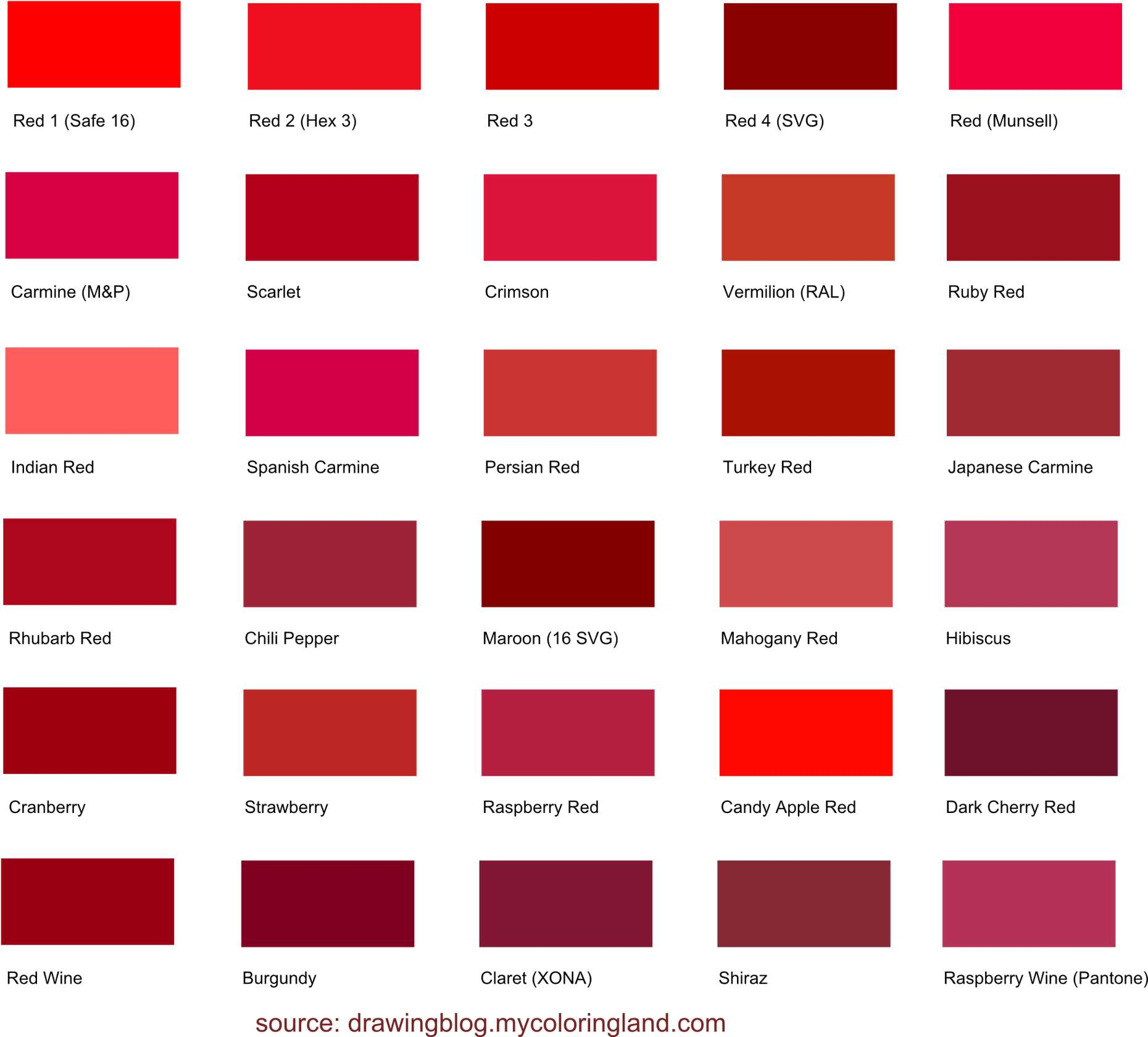 How Many Different Shades Of Red Color Are There Drawing Blog