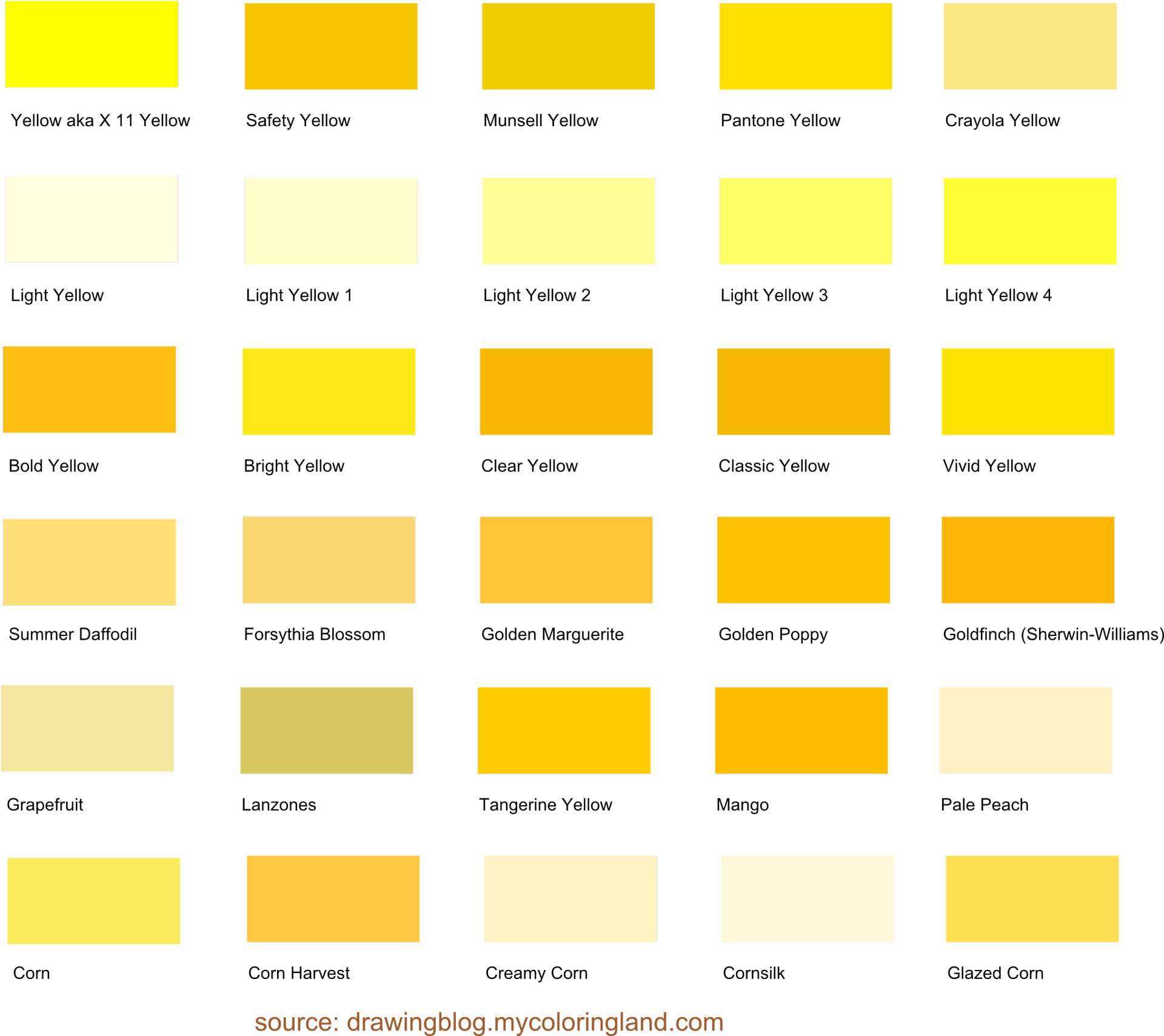 Shades Of Yellow A List With Color Names And Hex Codes Drawing Blog